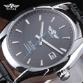 Winner Watch Simple Mechanical Black HIgh Quality Leather Strap Calendar Business Automatic Clock Men Dress Wristwatches Gift