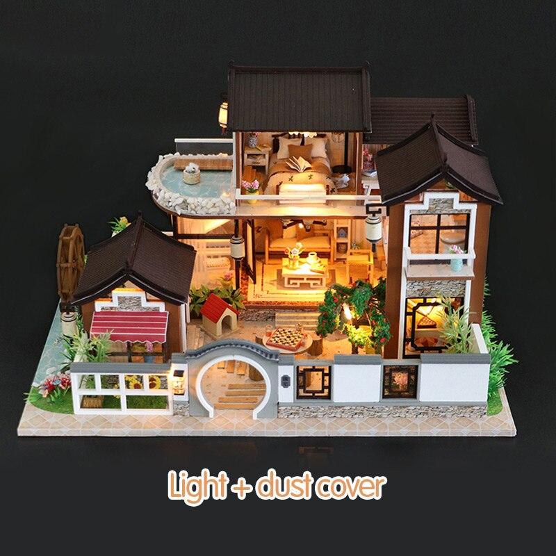 Maison de poupée avec meubles Kits de construction Vintage bricolage maison de poupée Miniature maison 3D pour poupées jouets pour enfants cadeau d'anniversaire