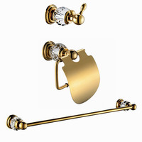 Free shipping crystal & brass bath hardware sets Robe hook,Paper Holder,Towel Bar,3 pcs/set CY00K