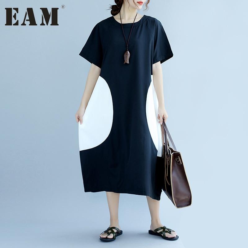 EAM 2017 New summer Round Neck Short Sleeve Both Sides split joint loose big size