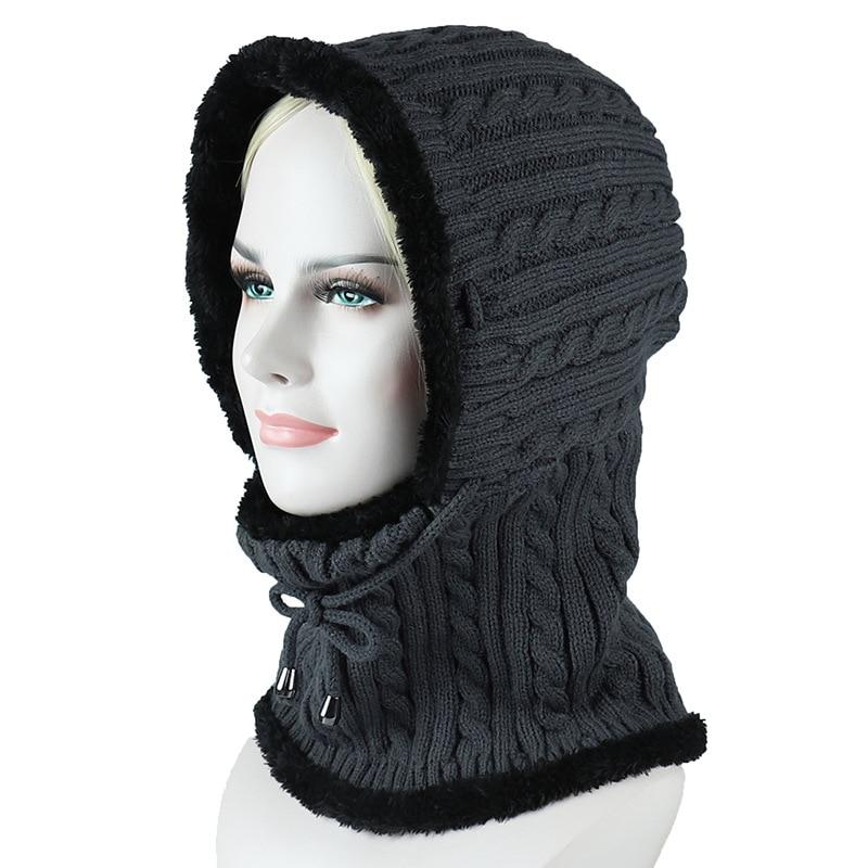 HanXi Siamese Women Winter Hat Scarf Set For Men Hat Beanie Knitted Velvet Scarves Unisex Ski Cap Outdoor Warm Skullies