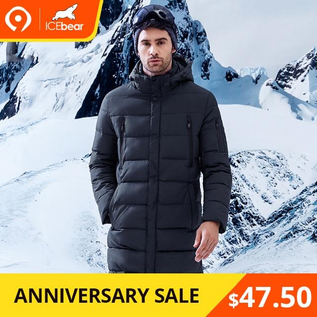 ICEbear 2018 Зимнняя мужская куртка длинное пальто изысканный рука карман Для мужчин одноцветное парка теплые манжеты Дизайн Воздухопроницаемая ткань куртка B17M298D