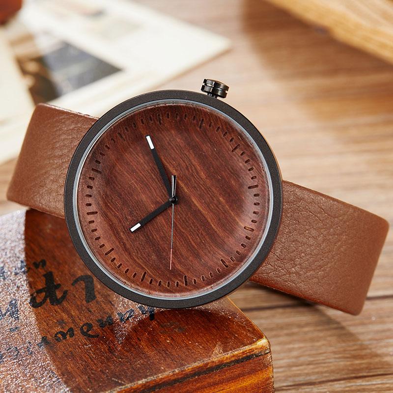 Wood Watch Ladies Simple Design Small Bracelet Natural Wooden Wrist Watch Women Genuine Leather Unisex Quartz Minimalist Watch