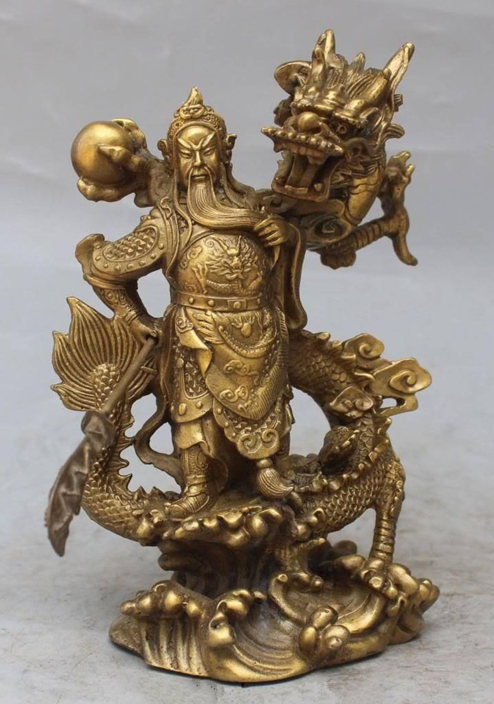 Chinese Fengshui Bronze Guan GongYu Warrior God Sword Stand in Dragon Statue Chinese Fengshui Bronze Guan GongYu Warrior God Sword Stand in Dragon Statue