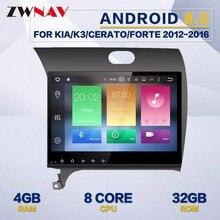 ZWNAV Android 8.0 4+32GB For Kia CERATO K3 FORTE 2013 2 DIN Car GPS Navigation Car Radio Video No DVD Player Free Map And Camera