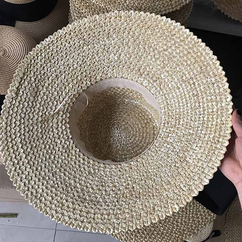 b9814c2091d FGHGF New Fashion Women Sun Hat Natural Straw Large Wide Brim Summer Casual Beach  Hat Elegant Ladies Floppy Kenturky Derby Hat-in Sun Hats from Apparel ...