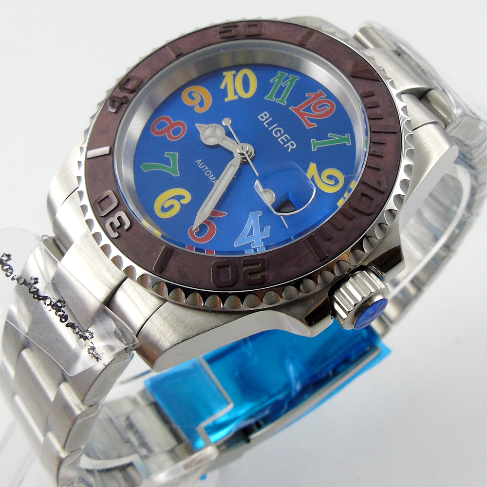 Bliger 40mm blue dial date coffee Ceramics Bezel colorful marks saphire glass Automatic movement Men's watch bliger 40mm gray dial date blue ceramics bezel stainless steel case saphire glass automatic movement men s watch