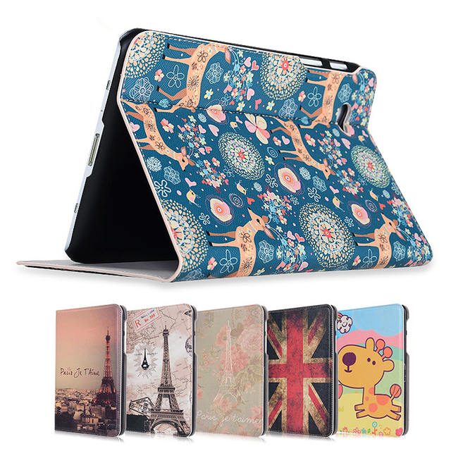 Fashion painted Pu leather stand holder Cover Case for Samsung Galaxy Tab 2 GT-P3100 P3110 P3113 7.0 inch Tablet + Gift