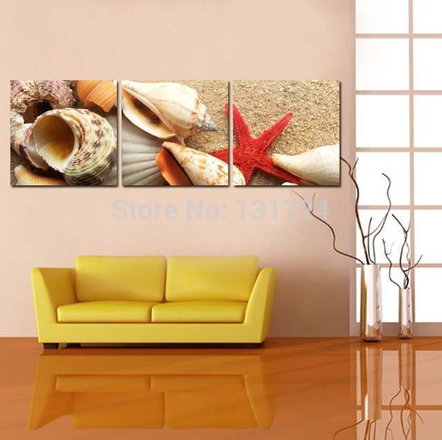 Drop shipping multi modern seascape starfish shell canvas wall art ...
