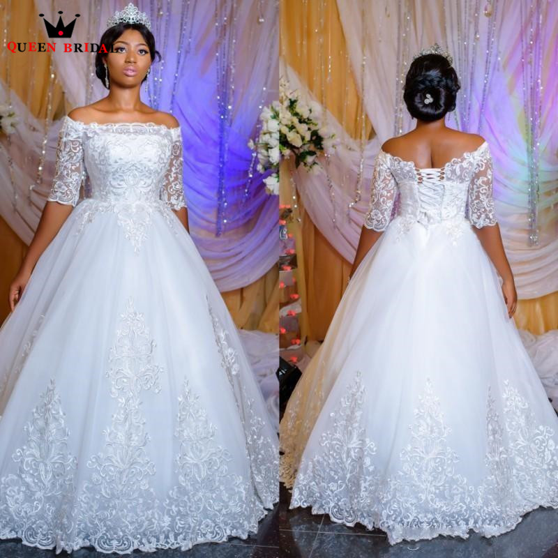 Classic Wedding Gowns 2018: Custom Made A Line Half Sleeve Lace Tulle Romantic Plus