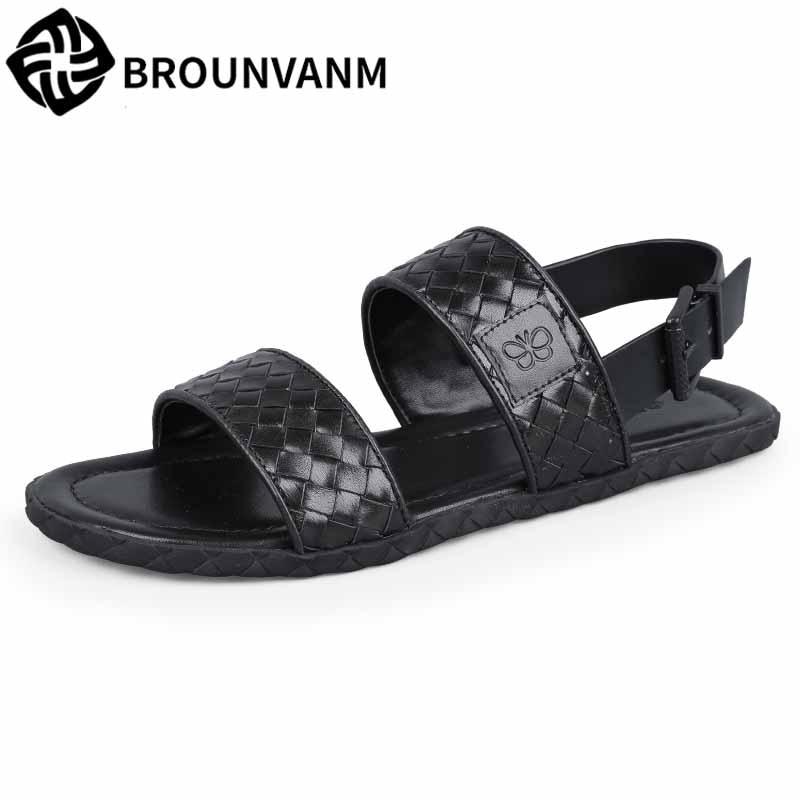 Mens Rome sandals Genuine leather summer sandals Sneakers Men Slippers Flip Flops casual Shoes beach outdoor anti-skid cowhide