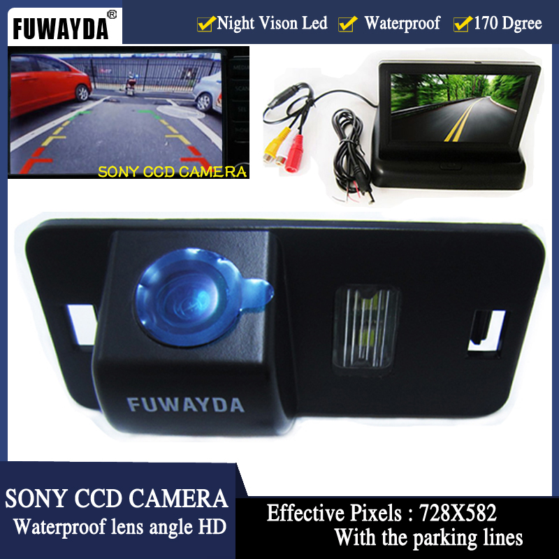 WIRE LED Night Vision Car SONY CCD Rear View Camera With LCD Car Monitor Camera for