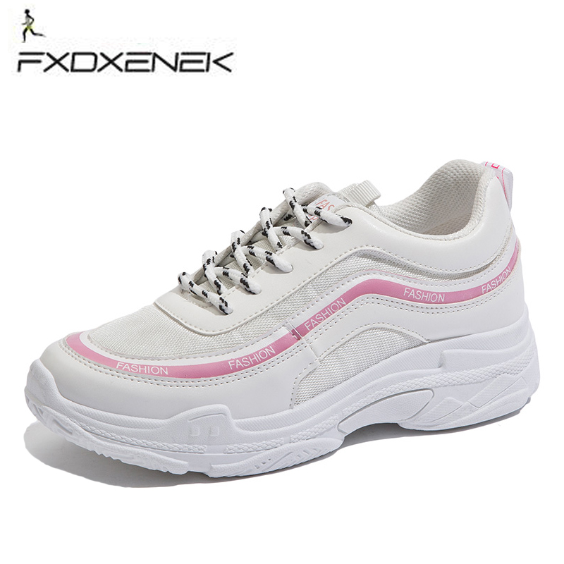 FXDXENEK New Trend Running Shoes Woman Sneakers Breathable Air Mesh Shoes Height Increas ...