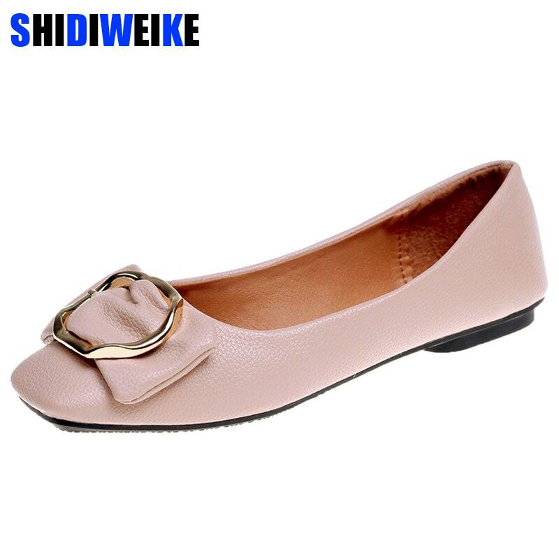 Shidiweike 2018 nova oxfords bowtie sapatos de couro macio mulher casual mocassins dedo do pé quadrado sapatos femininos apartamentos deslizamento em apartamentos m430