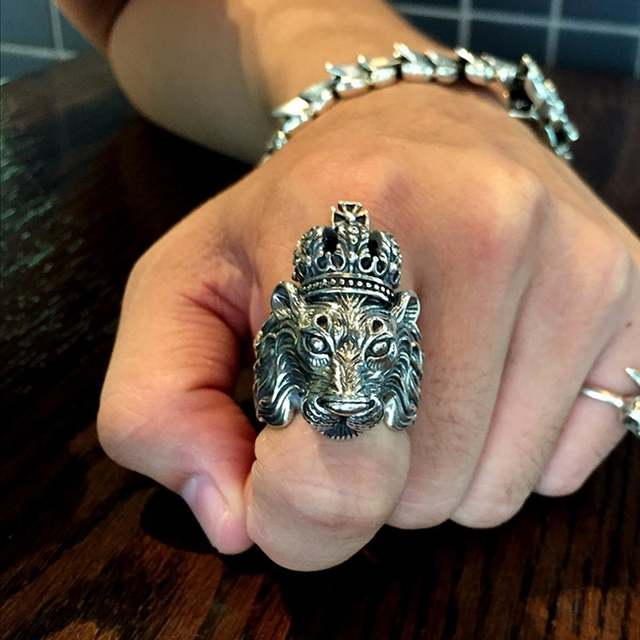 6afea48c1 Authentic Real Solid 925 Sterling Silver Crown Lion King Ring for Men Boy  Punk Retro Vintage Cool Big Mens Biker Lion Head Ring-in Rings from Jewelry  ...