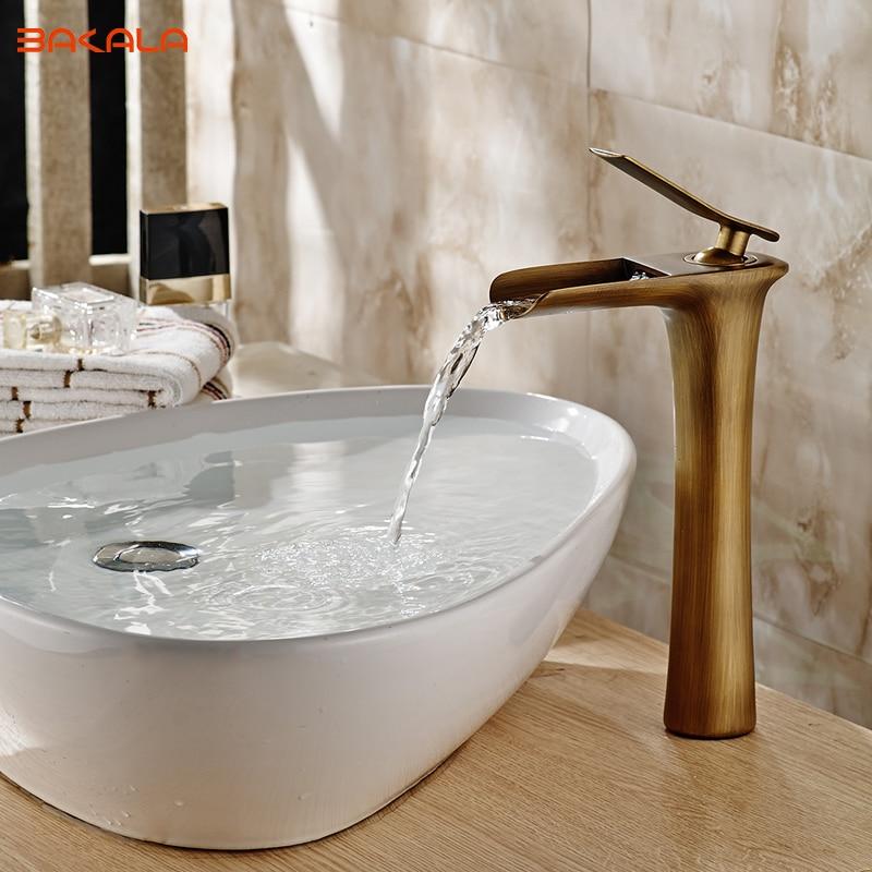 BAKALA Antique Brass bathroom Waterfall Sink Bathroom basin Faucet mixer tap GZ-8120 bakala new arrival tall faucet vintage style bathroom basin sink faucet antique brass mixer tap dual handles deck mounted ca9903