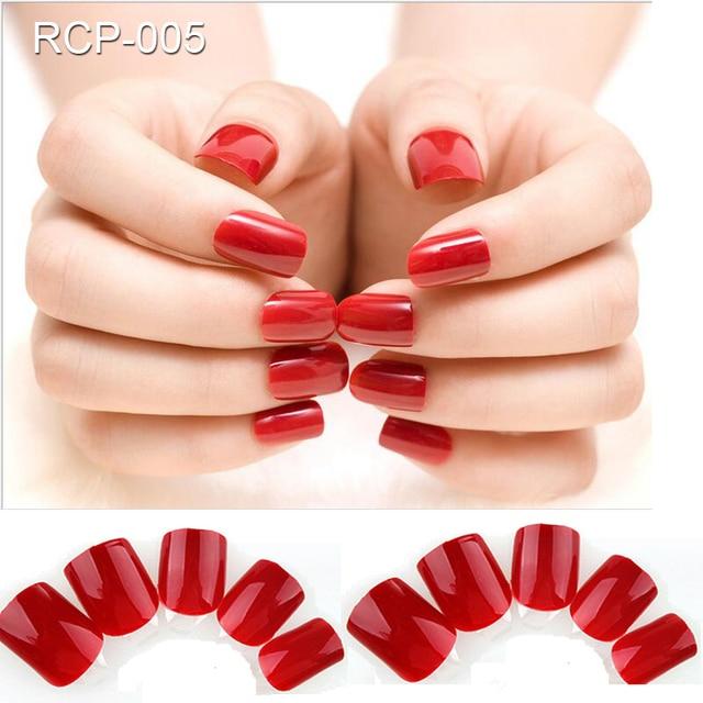 24pcs Full Cover Dark Red Self Adhesive Nail Polish Tips Glued Wine Colored False Nails