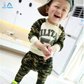 Spring Autumn clothing new 53 camouflage suit baby boys and girls children's letters T-shirt + casual pants set
