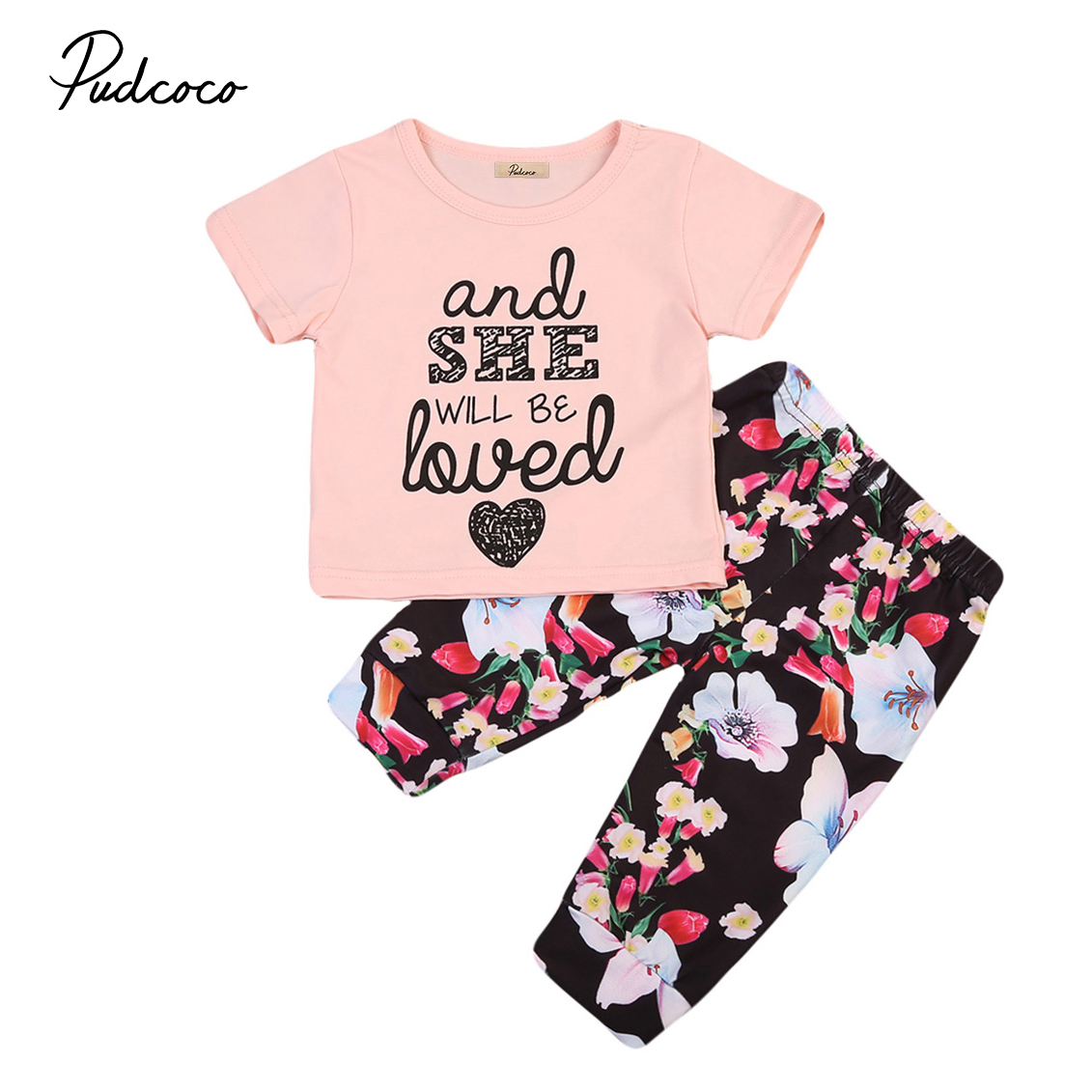 New Letter Printed Newborn Kids Baby Girls Clothes T-Shirt + Floral Pants Outfits
