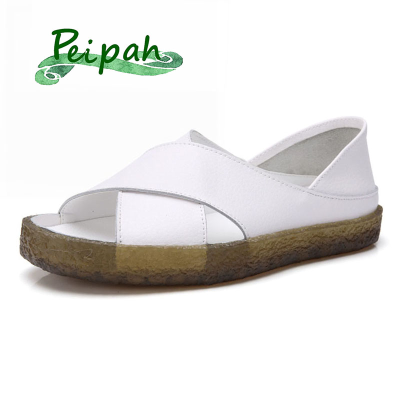 PEIPAH 16 Style Genuine Leather Summer Women Sandals Flat Sandalias Mujer Ladies Sandals Summer Shoes Casual Female Flip Flops