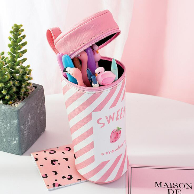 Kawaii PU Waterproof Pink Pen Case For Girls Fruit Strawberry Pen Box School Kids Pencil Bags Stationery Pouch Make Up Case GiftKawaii PU Waterproof Pink Pen Case For Girls Fruit Strawberry Pen Box School Kids Pencil Bags Stationery Pouch Make Up Case Gift