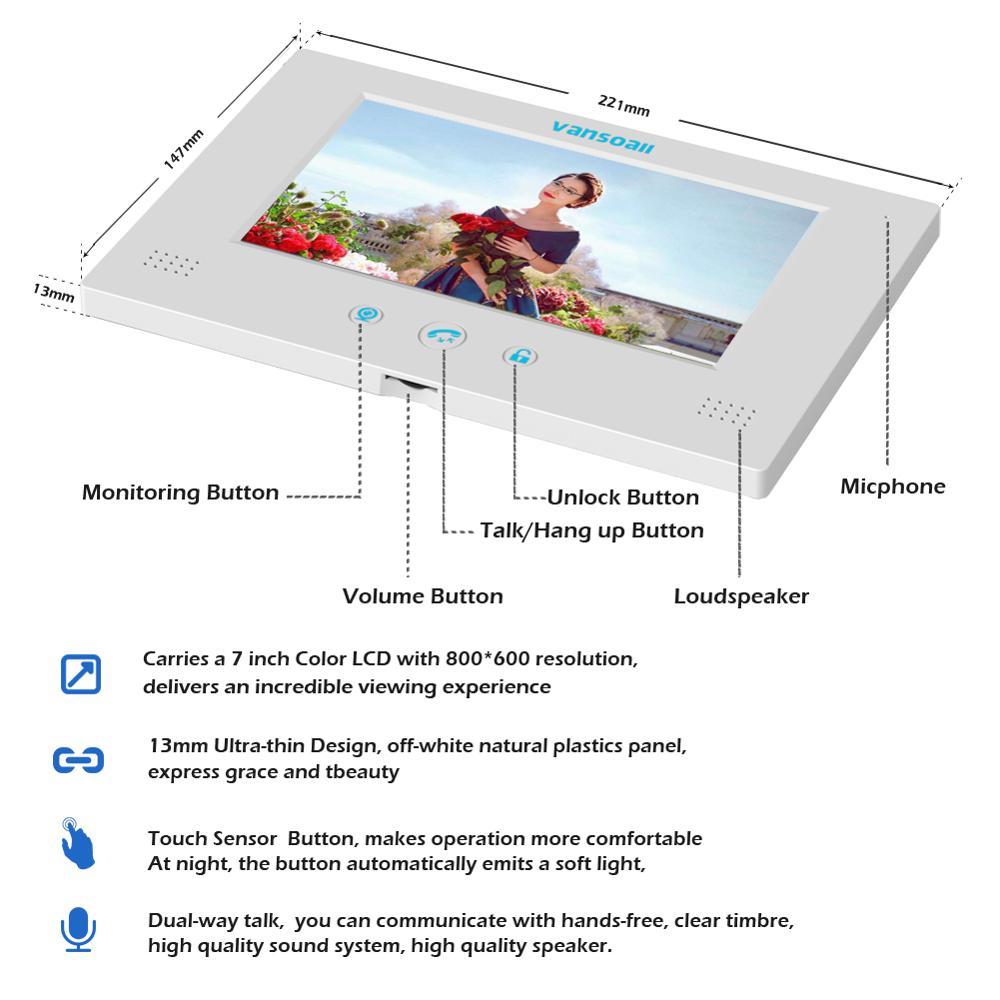 Sistema de intercomunicador de vídeo con cable para puerta de vídeo VANSOALL Monitor de Color de 7 pulgadas y cámara HD con liberación de puerta ¡botón Táctil - 3