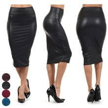 Новая женская облегающая юбка-карандаш из искусственной кожи с высокой талией, одноцветная Сексуальная офисная юбка