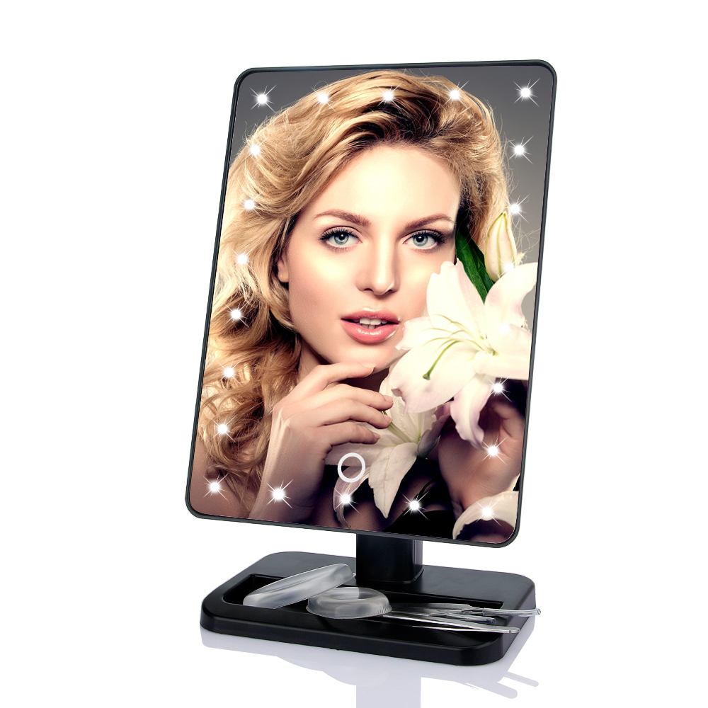 22 LED Makeup Mirror With Touch Screen Adjustable Vanity Mirror 360 Degree Rotation Professional Illumination Cosmetic