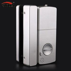 Image 4 - Fechadura de impressão digital de vidro fechadura da porta eletrônica para casa anti roubo inteligente senha rfid cartão autônomo abridor inteligente