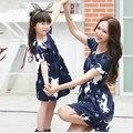2017 новый мать и дочь одежда дети девочка мультфильм платье семья соответствующие наряды темно-синий с коротким рукавом женщины летнее платье