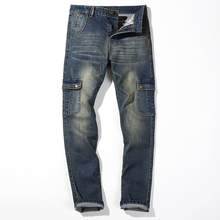 2016 новый Большой Плюс Размер 42 44 46 Синий Упругие Мужчины джинсы Slim Fit Прямые Брюки Джинсовые дешевой цене мужская Жан Тощий Homme