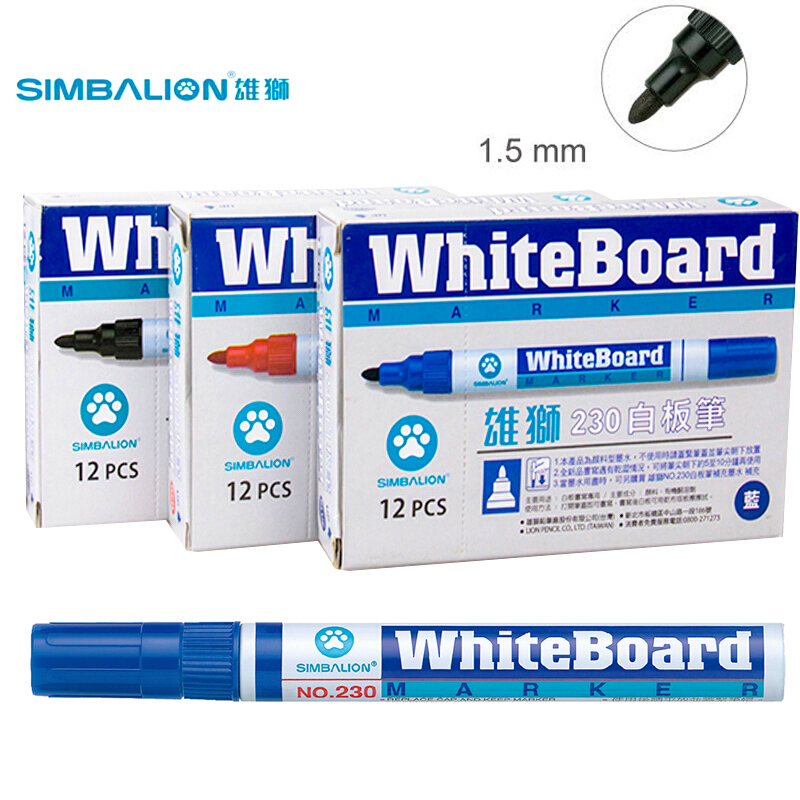 Simbalion Whiteboard Marker Pen 230 Erasable White Board Markers 12 Color Non Toxic Dry Erase Mark Sign Office&School Supplies 40g120hd to 247