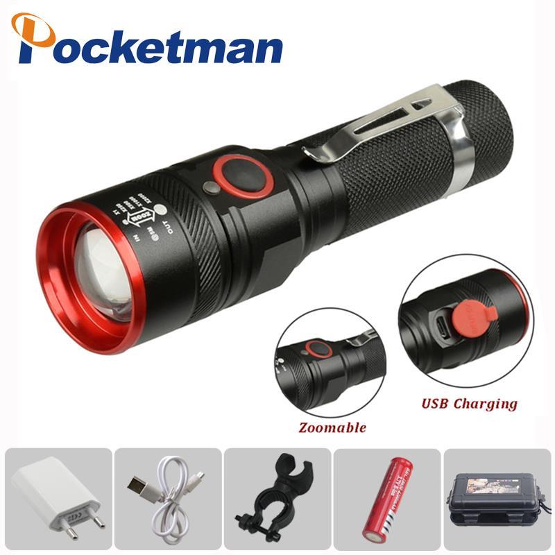 6000 Lumens Flashlight USB Rechargeable T6 LED Flashlight Torch Lamp Lantern 18650 Waterproof LED Bike Flash Light Aluminum