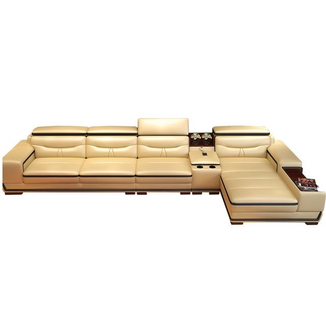 Living Room L Shape Leather Sofa w/ Storage Corner  2
