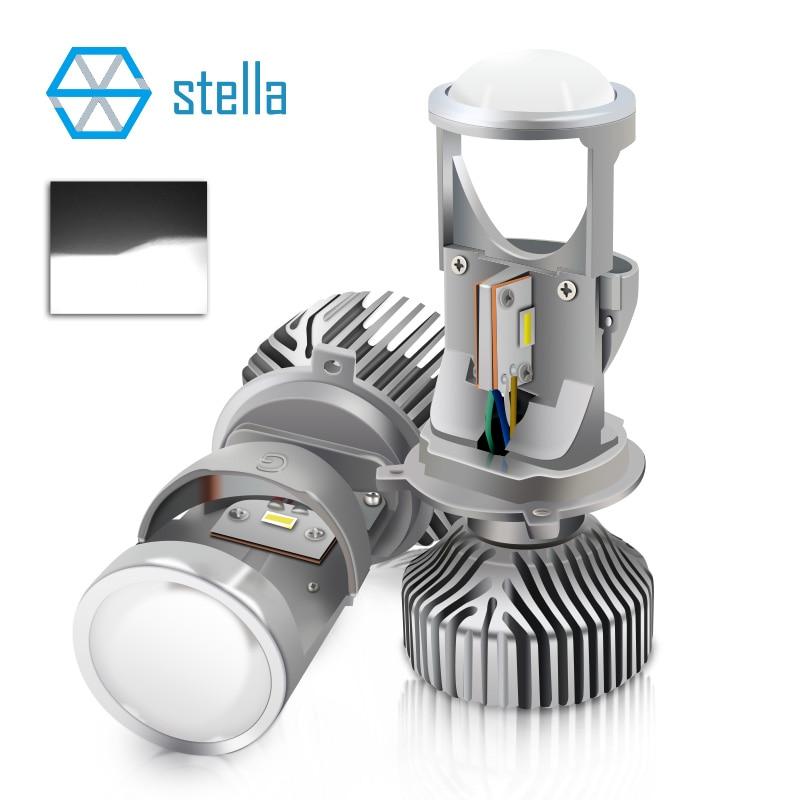 2pcs H4 LED hi-lo mini projector lens headlight for car clear beam pattern 12V 5500k no astigmatic problem lifetime warranty crash bar mt 09