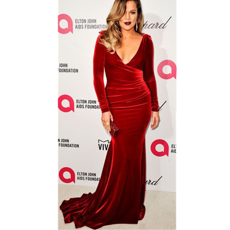Stretch Long Sleeve Red Velvet Evening Dress Mermaid Velvet Women ...