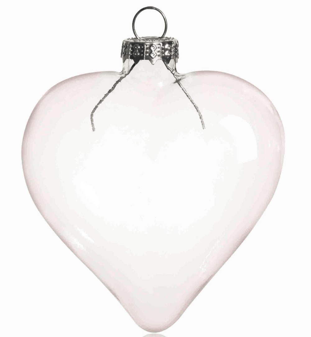 Flat glass ornaments - Free Shipping Diy Paintable Transparent Clear Christmas Ornament Decoration 80 70mm Heart Shape Glass With