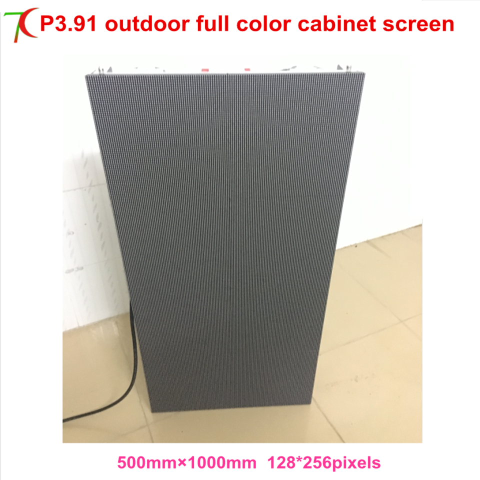 P3.91 Outdoor Waterproof  500*1000mm Die-casting Aluminumcabinet Led Screen With Wifi/usb/rj45 Funcation ,plug And Play.