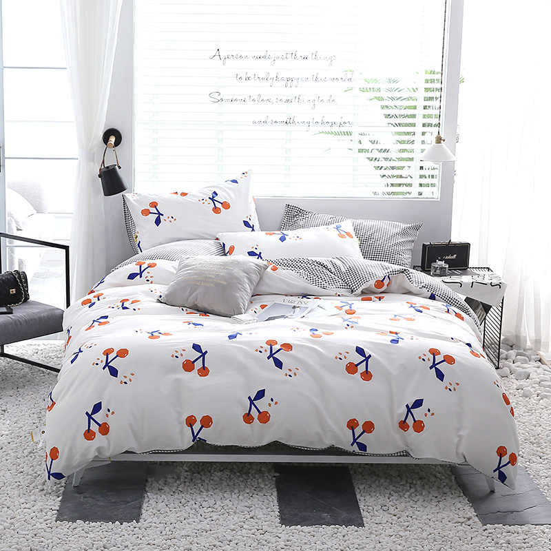 Cotton Cartoon Stylish Red Cherry Pattern Bedding Bed Linen Bed Sheet Duvet Cover Pillowcase 3/4pcs Bedding Sets/Queen Size
