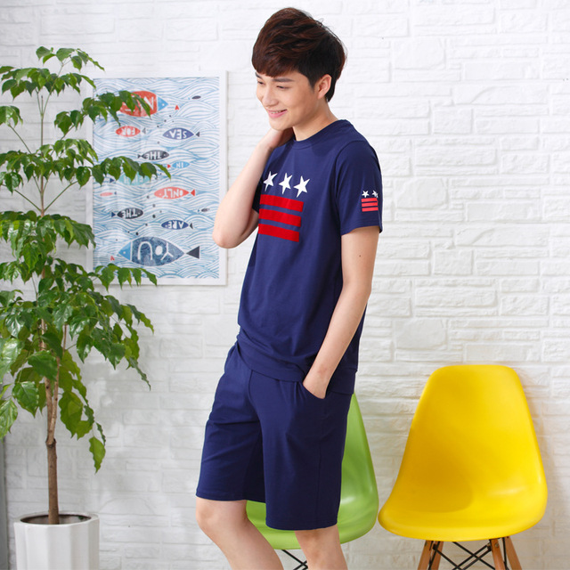 Summer New Short-sleeved Cotton Pajamas Couple Of Men's Shorts Korean Casual Home Clothes Suit MJSUQJ6285