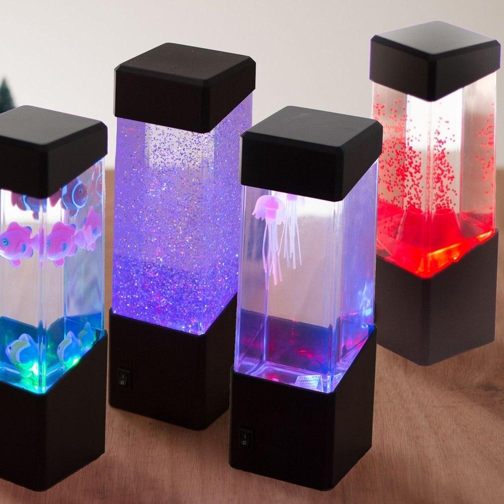 Nieuwe Nachtlampje Voor Aquarium Kwallen Lamp Nachtlampje Aquarium Led Tank Nachtkastje Motion Lamp Bureaulamp Nachtkastje Haren Voorkomen Tegen Grijzing En Nuttig Om Teint Te Behouden