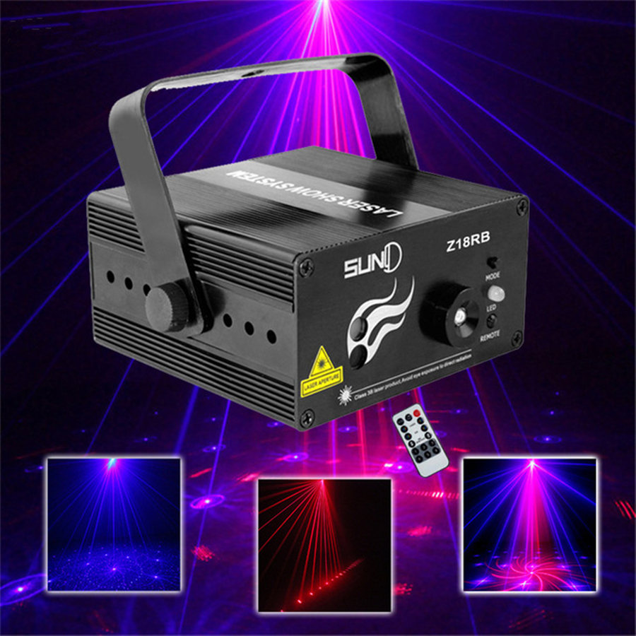 ФОТО 3 Lens 18 Patterns RB Led Laser Stage Lighting Effect Laser Projector Party Club Bar DJ Disco Home Show Professional Light