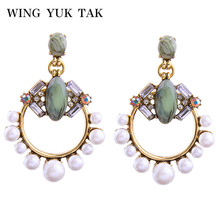 wing yuk tak New Arrival Hyperbole Statement Crystal Simulated Pearl Stud Earrings For Women Girl Party Earring Quality Jewelry