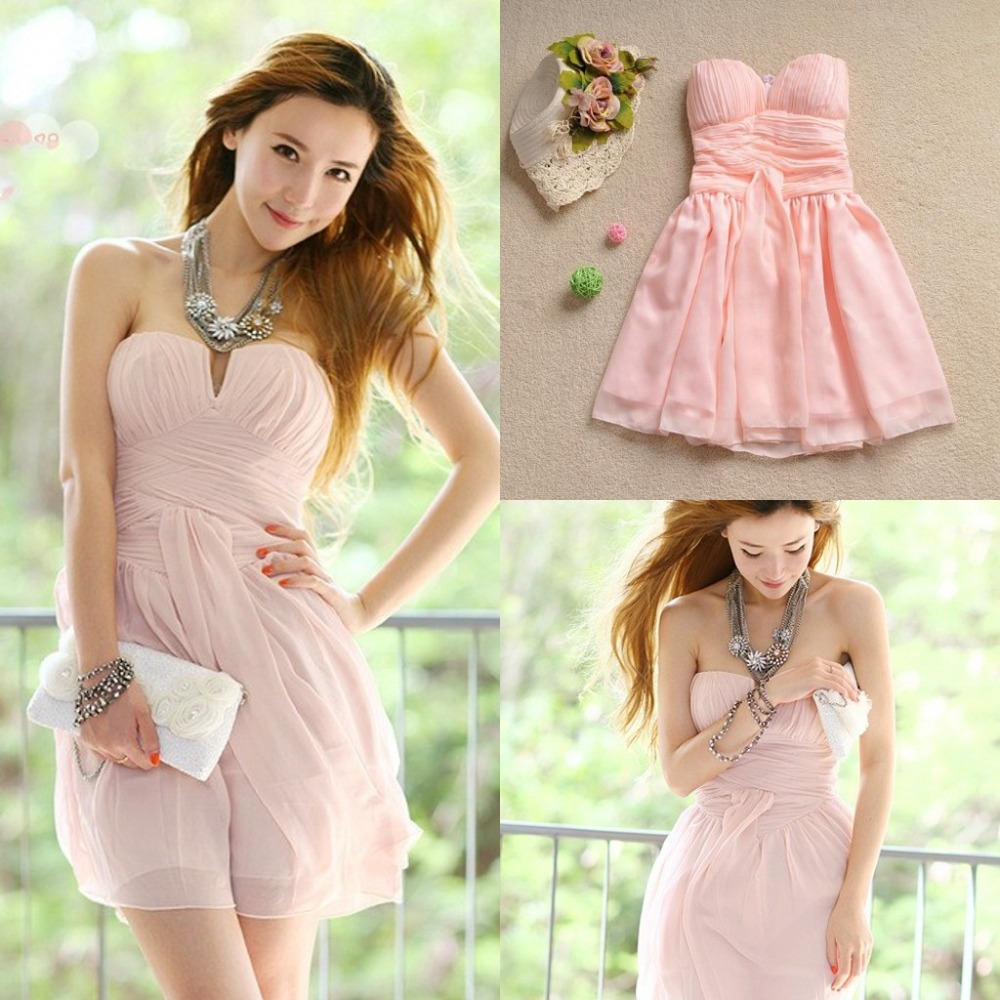 Blush Pink Bridesmaid Dress Short Crinkle Chiffon Dress
