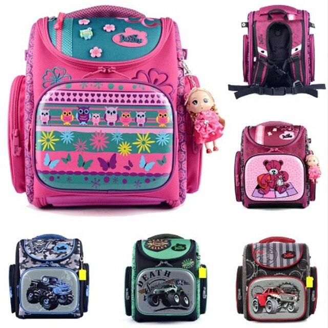Delune 2016 Fashion Brand Cartoon Dogs Cute Bear Girls School Bags Waterproof Foldable Orthopedic School Backpacks Kids Bolsas