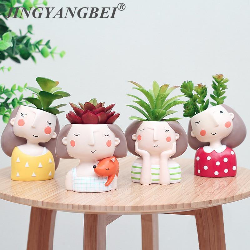 Flower Girl Plants Vase  European Style Succulent Plants Planter Pot Mini Bonsai Cactus Flower Pot Home Decor Craft