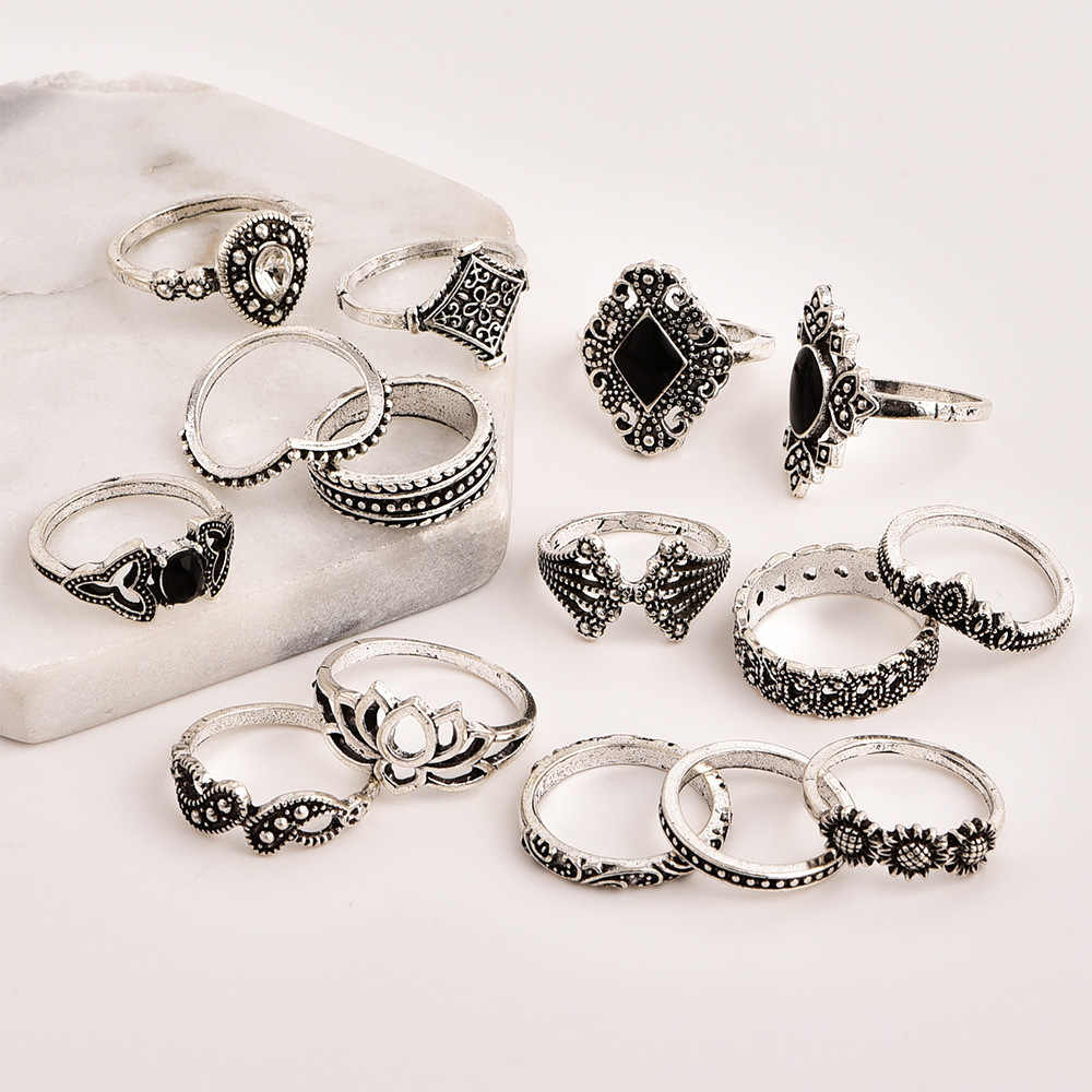 15 個/新ボヘミアレトロ古代シルバー女性の人格リングセット卸売婚約指輪