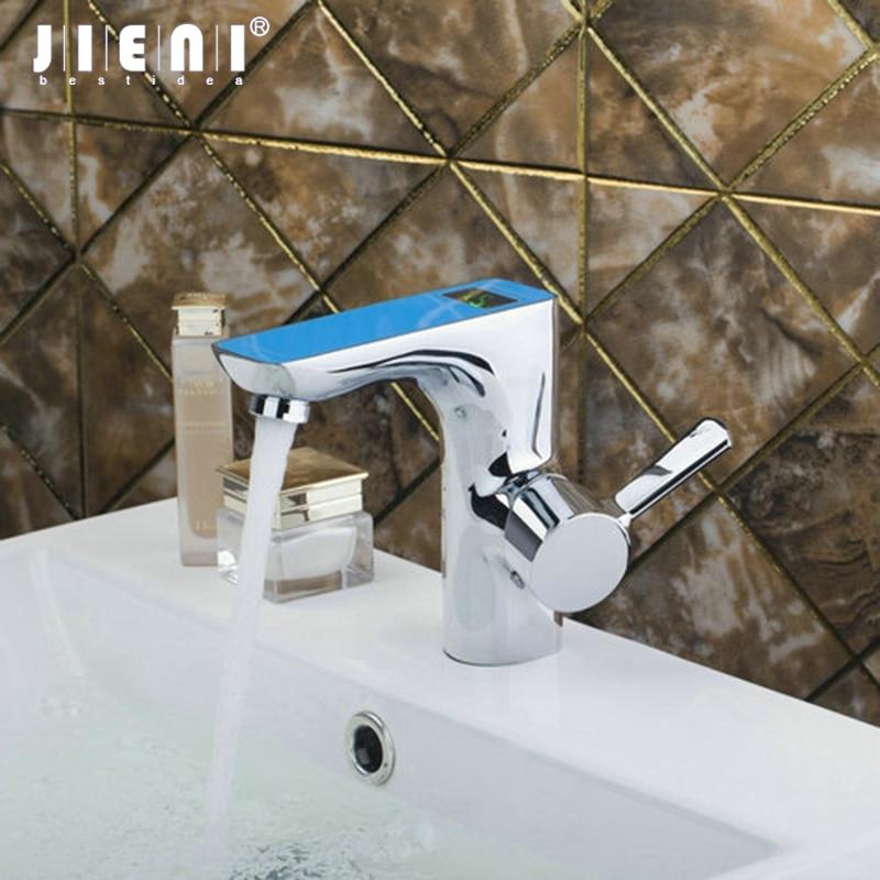 Best Single Handle Blue Digital Display Bathroom Chrome Brass Deck Mount 97121 Sink Wash Basin Torneira Vessel Tap Mixer Faucet стоимость