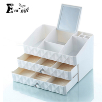 New ABS Double drawer Dressing Box whit mirror jewelry cosmetics makeup organizer home small items jewelry storage box