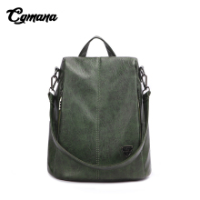 CGMANA Women Leather Backpack 2018 Anti-theft Female High Quality Soft Vintage Large Capacity Travel Backpacks